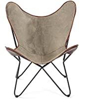 Brevent Contemporary Grey Leather-trimmed Canvas/Iron Butterfly Chair