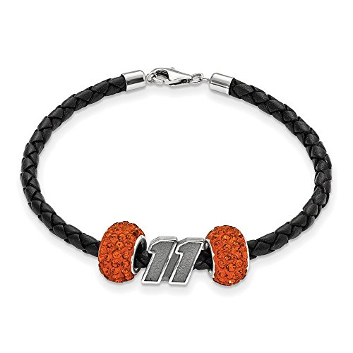 Denny Hamlin #11 Two Orange Crystal Sterling Silver Beads Black Leather Bracelet by Jewelry Stores Network