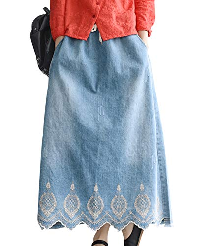 Sawtooth Pockets - Women Casual Loose Swing Denim Skirts Embroidery Fringed Sawtooth Hemline/Pockets YAA
