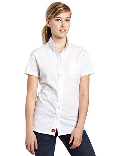 Short Girls Sleeve Blouse (Dickies Girl Juniors Short Sleeve Button Front Poplin Shirt,White,Medium)
