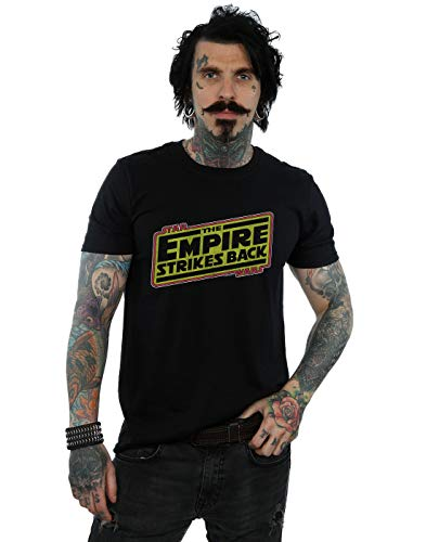 Back T-shirt Logo - Star Wars Men's The Empire Strikes Back Logo T-Shirt Black X-Large