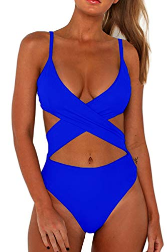 CHYRII Plus Size Bathing Suits for Women Sexy Cut-Out Low Back Removable Padding High Waisted Bikini Swimsuit Sapphire Blue L
