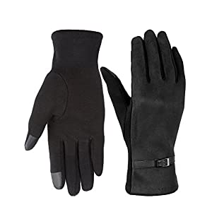 Womens Winter Gloves,Fashion Touch Screen Warm Fleece Lined Ladies Gloves, Solid Black