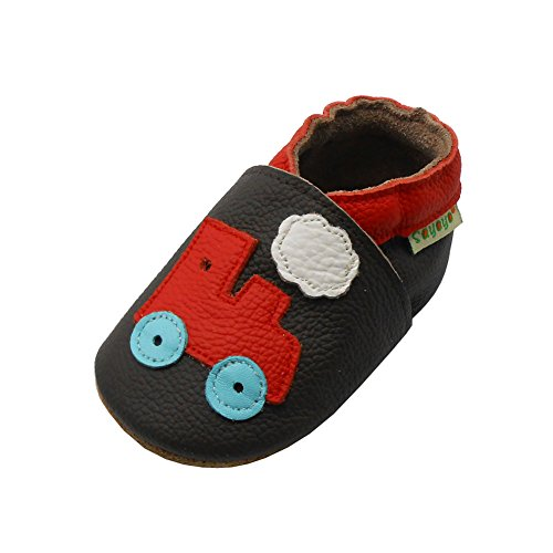 Sayoyo Baby Tractor Soft Sole Brown Leather Infant and Toddler Shoes 0-6months
