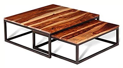 PROGLEAM Coffee Table, 2 Piece Nesting Coffee Table Set Solid Sheesham Wood