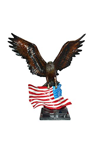 Eagle with American Flag Bronze Statue - Size: 32