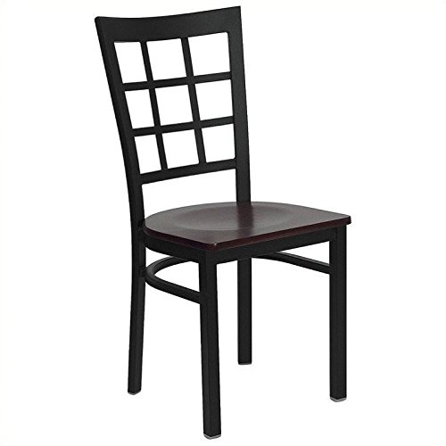 Flash Furniture HERCULES Series Black Window Back Metal Restaurant Chair - Mahogany Wood Seat (Mahogany Window Frames)