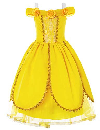 Princess Belle Costume Deluxe Fancy Yellow Party Dress