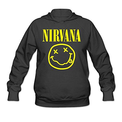 (CYANY Nirvana Smiley Rock Band Logo Women's Unique Hoodies Sweatshirt SBlack)