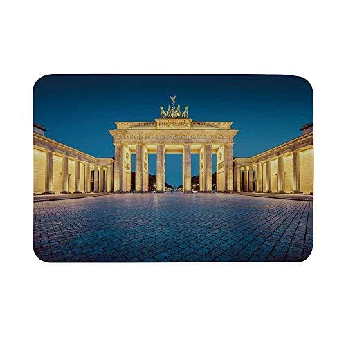 (Travel Decor Non Slip Door Mat,Classic View of Famous Brandenburg Gate Germany National Symbol Landmark Decorative Floor Mat for Bathroom Living Room,23