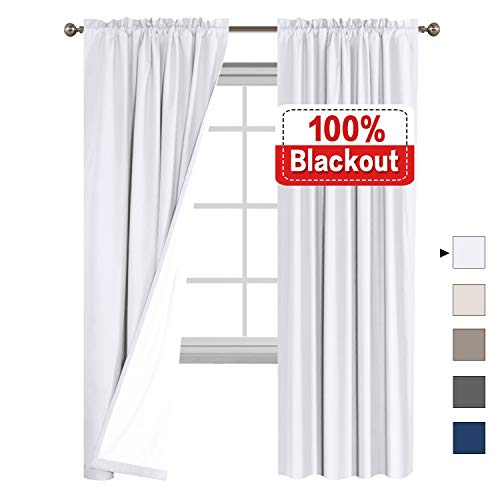 Flamingo P Waterproof 100% Blackout Curtains for Bedroom, Faux Cotton Curtains for Living Room Rod Pocket Window Curtains 2 Bonus Tie-Backs, 2 Panels (52 by 84 - Inch, White) (Curtain Tie Backs Rod)