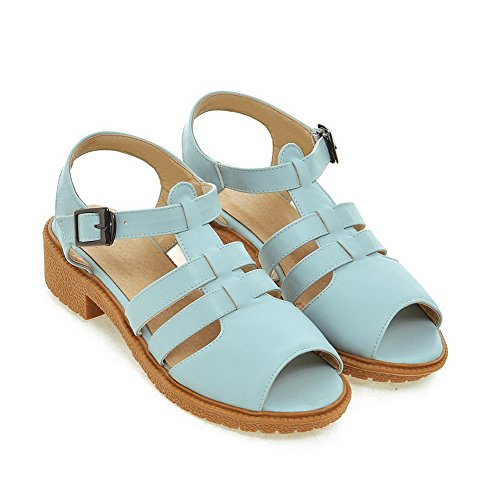 AmoonyFashion Womens Low-heels Soft Material Solid Buckle Peep Toe Sandals Blue AhTDlrBRcY