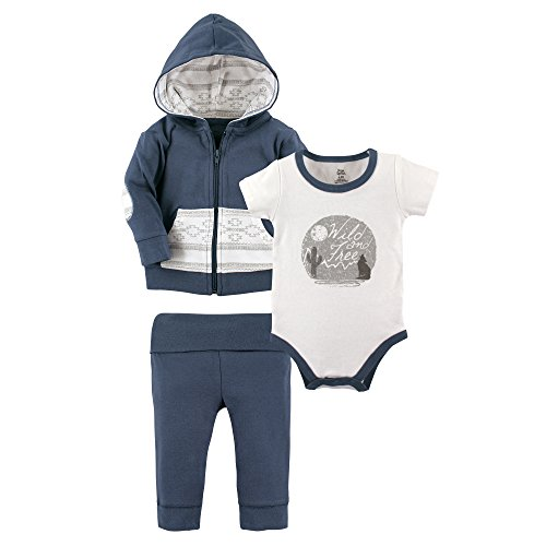 - Yoga Sprout Baby 3 Piece Jacket, Top and Pant Set, Wild/Free, 3-6 Months (6M)