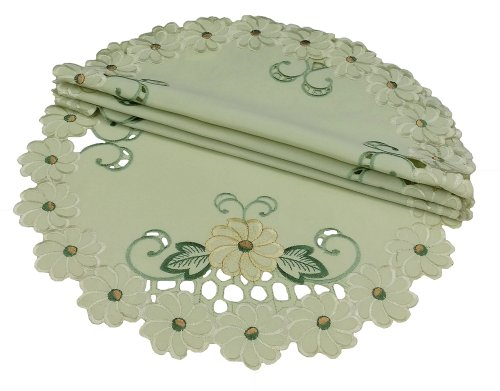 Xia Home Fashions Emerald Daisy Embroidered Collection Cutwork 4-Pack Spring  Placemats, 16-Inch Round