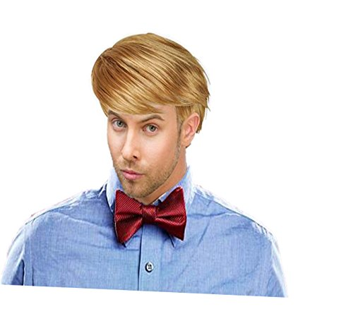Play Kreative Handsome Short Straight Mens Blonde Wig for Halloween or Costume (Halloween Costume Blonde)