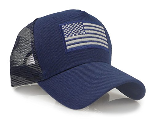 Stars Stripes - USA American Flag Embroidered Stars and Stripes Tactical Mesh Trucker Baseball Snapback Cap Hat (Navy)