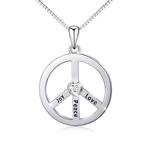 - S925 Sterling Silver Classic Peace Sign Hippie Pendant Necklace for Women Girl