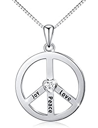 "925 Sterling Silver Classic Peace Sign Engrave ""Joy Peace Love"" Pendant Necklace ""Mother's Day Gift"""
