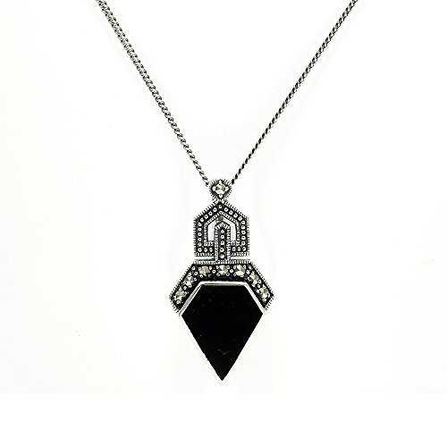 925 Sterling Silver Marcasite & Black Onyx Art Deco style ()