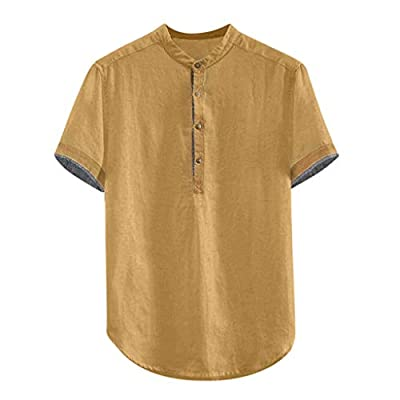 Canserin Mens Summer Cotton Linen Short Sleeve Golf Shirts Loose Fit Workout Casual Beach Henley Shirt: Clothing