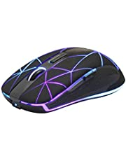 Rii Draadloze muis, 2.4G draadloze muis PC muis laptop muis draadloze optische muis met USB nano-ontvanger, 7 LED verlichte muis voor Windows/Mac/Linux, Office Home, zwart