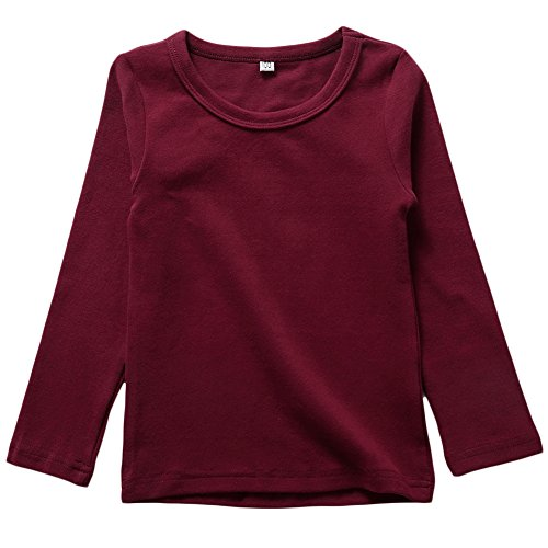 Aulase Unisex Girls Boys Basic Cotton Crew Neck T-Shirt Long Sleeve Jersey Tee Wine Red 8-9Y/Tag (Jersey Boy Wine)