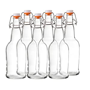 Bellemain Swing Top Grolsch Glass Bottles 16oz – CLEAR – For Brewing Kombucha Kefir Beer (6 Set)