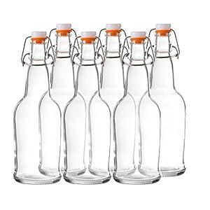 Bellemain Swing Top Grolsch Glass Bottles 16oz – CLEAR – For Brewing Kombucha Kefir Beer (6 Set)