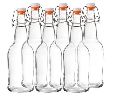 Bellemain Swing Top Grolsch Glass Bottles 16oz - CLEAR - For Brewing Kombucha Kefir Beer (6 Set) ()