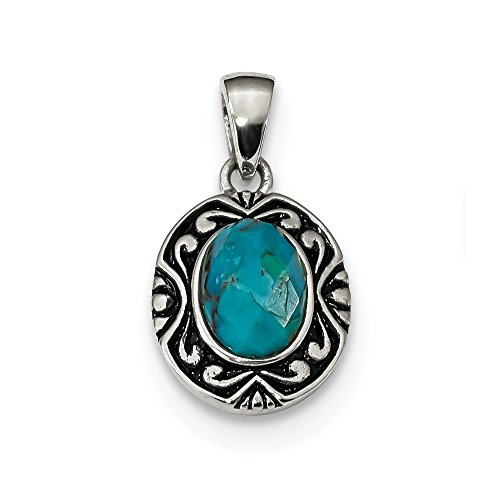 - 925 Sterling Silver/oxidized Reconstituted Blue Turquoise Pendant Charm Necklace Fancy Fine Jewelry Gifts For Women For Her