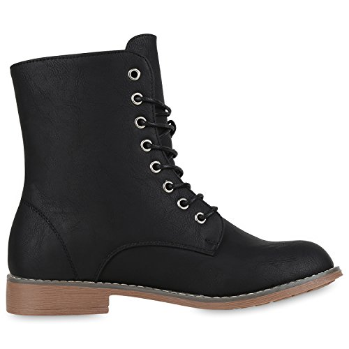 Best mujer boots Nieten Schwarz para Botas Nuovo OwvqyA4OB