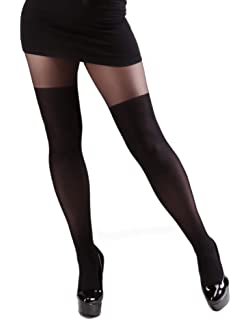3d768f9de96 Plus Size Luxury Suspender Effect Tights Black. Thigh High Effect ...