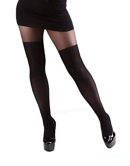 507bab0f4 Miss Naughty Plus Size Over The Knee Tights Black XL  Amazon.co.uk  Clothing