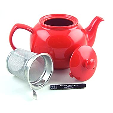 6 Cup Teapot with Fitted Infuser - Fine Stoneware by Price & Kensington, Stoke on Trent, England - Bright Gloss Red