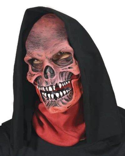 Zagone Red Death Mask, Red Skull, Skeleton with Hood (Red Skull Mask)