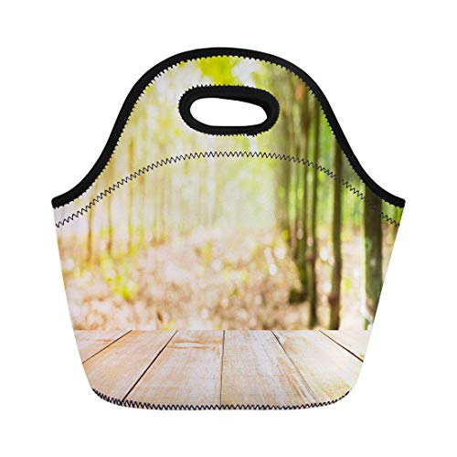 Semtomn Lunch Bags Bowl Agriculture Wood Table Top Focus Blur Rubber Tree Neoprene Lunch Bag Lunchbox Tote Bag Portable Picnic Bag Cooler Bag ()