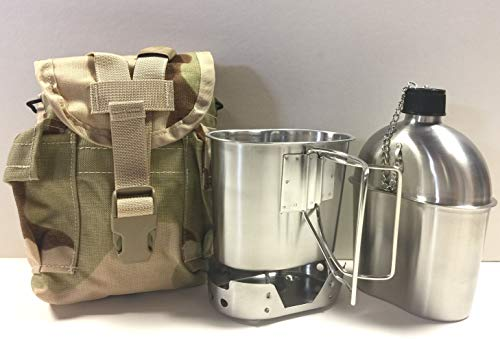 Surplus Steel Stainless (G.A.K New Military Style 1 qt. Stainless Steel Canteen with Cup, Stainless Steel Foldable Stove, and Used Surplus G.I. Issue Cover Kit. (Desert CAMO))