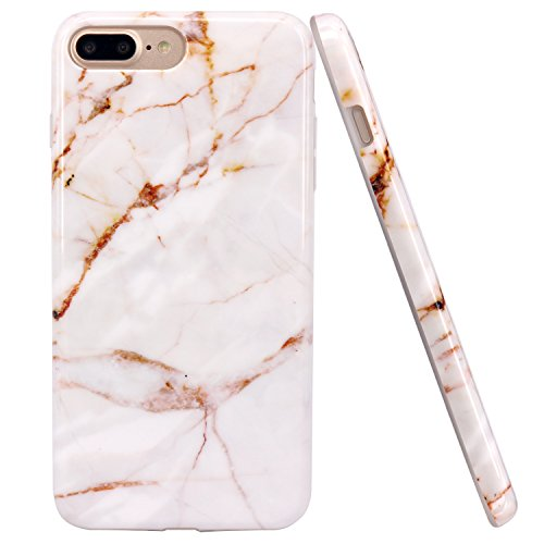 iPhone 7 Plus Case, JAHOLAN Gold Marble Design Slim Shockproof Flexible Glossy...