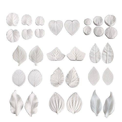 AK ART KITCHENWARE 16pairs Sugar Paste Flower Veining Molds Leaf Veiners Fontant Mold Cake Craft Tools (12 kinds of leaves) ()