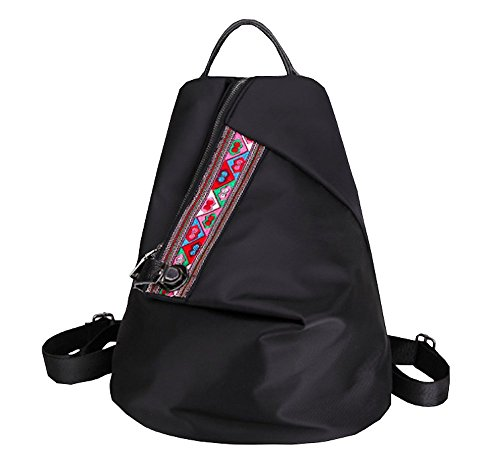 Price comparison product image Women Canvas Backpack Handbag Embroidered Ethnic Lightweight Simple Travel Trip Large Capacity (Black)