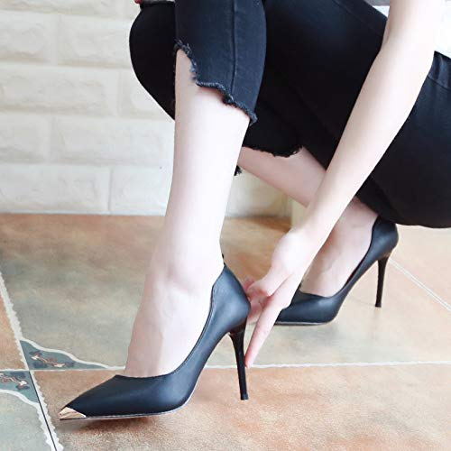 Women'S Fine Shallow 9Cm High Sexy KPHY Shoes Black Thirty Simple Heeled Thin Pointed Metal Autumn Shoes Shoes Nine Heel Mouth vR4Rgx