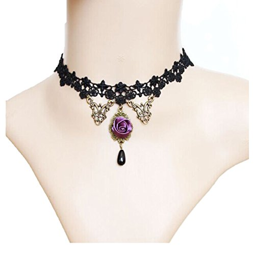 MAFMO Vintage Gothic Lace Choker Purple Rose Flower Collar Necklace Women Party Jewelry (Purple Masquerade Dresses)