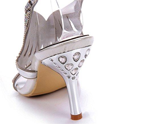 Sandals Slippers Silver Fashion Rhinestone Doris Women's Glitter Wedding Dress Shoes Summer 47BwZqT
