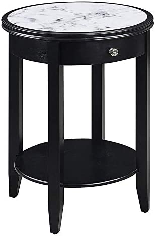 Convenience Concepts American Heritage Baldwin End Table with Drawer, White Marble Black