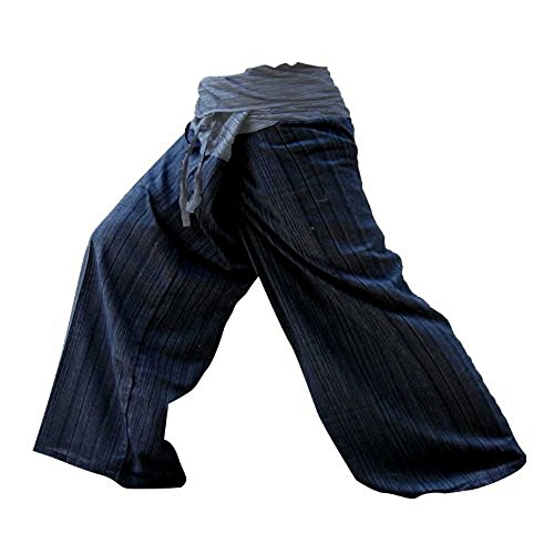 (LannaPremium 2 Tone Thai Fisherman Pants Yoga Trousers Free Size Plus Size Cotton Dark Blue and Drill Striped)