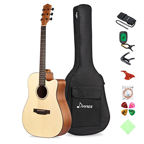 Donner DAG-1C Beginner Acoustic Guitar Full Size, 41' Cutaway Guitar Bundle with Gig Bag Tuner Capo Picks Strap String