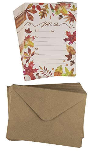 Fall Invitation Cards - 50-Pack Thanksgiving Dinner Party Invite Cards, Fill-in Invitations with Envelopes for Fall Themed Wedding, Baby Shower, Autumn Leaves Designs, 5 x 7 inches from Sustainable Greetings