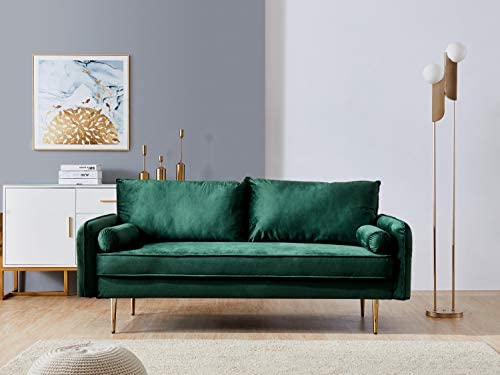 Green Velvet Fabric Sofa Couch,JULYFOX 71 inch Wide Mid Century Modern Living Room Couch