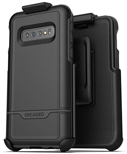 Encased Galaxy S10 Belt Clip Protective Holster Case (2019 Rebel Armor) Heavy Duty Rugged Full Body Cover w/Holder (Black) - Heavy Duty Holster
