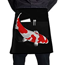 Watercolor Koi Fish Logo Unisex Fashion Pocket Waist Apron Restaurant Waitress Waiter Half Bistro Aprons